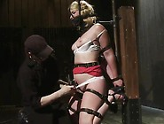 Nice Blonde Has Her Small Hole Hooked Round An Iron Hook