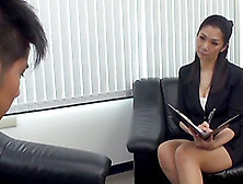 Foxy Japanese Beauty Gets Rammed Hard On A Seat Indoors