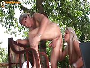 Busty Chick Blowjob And Rimjob On Her Old Guy