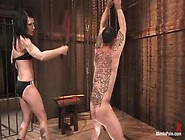 Slutty Mistress Simone Kross Torture Her Bound Male Slave Rico