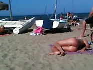 Ideal Topless Golden-Haired Arse On The Beach Exposing Her A-Ape