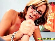 Blonde Spex Mature Jerking Hard Cock