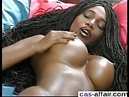 Ebony Beauty Has A Banana Stuck In Her Wet Pussy