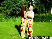 Horny Brunette Fucks Grandpa In The Park Video