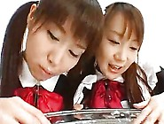 Two Asian Schoolgirls Like The Plate Clean Of Cum