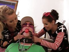 Two Naughty Girls Dominating A Dude