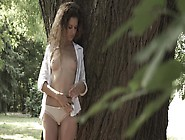 A Teen Brunette Is In The Forest And She Is Getting Fucked Hard