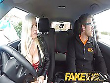 Busty Blonde Got Fucked In The Back Of A Car,  Instead Of Learnin