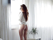 Throbbing A Hot Brunette With Glasses And Getting A Blowjob