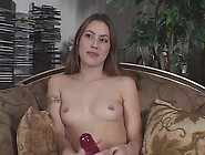 Pierced Nipples Teen Has A Dildo To Get Off With