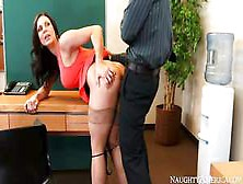 Man Spreads Stockings Legs Of Kendra Lust Apart And Sticks Cock