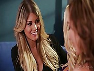 Seductive Blonde Lesbian Invited Friends To Her Place And Made L