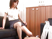 Elegant And Hot Office Girl Is Doing Footjob To Her Bf