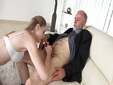 Wicked Brunette Teen Gladly Sucks An Old Man's Dick