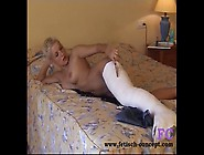 Fetisch-Concept. Com - Short Hair Blonde With Cast Leg And Dildo