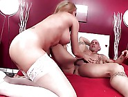 Blonde In White Stockings Has Pussy Made Creamy