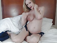 Sexy Blonde Pregnant Sucks Her Dildo