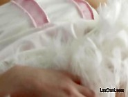 Lesbians In Bunny Costumes Fingering In Bed
