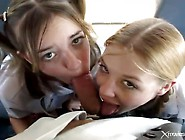 Cute Schoolgirls In Pigtails Fucked On The Bus