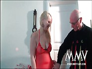 Curvy Blonde In Lingerie Sucks Old Man Cock