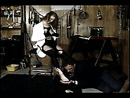 Chubby Mistress Makes Her Male Slave Lick Her High Heeled Shoes