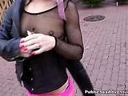 Dame In Pink Fishnet Stockings Bonking In The Car