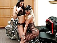 Two Lesbian Biker Babes Use Tong...