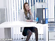 Slutty Office Lady In Red Shoes With High Heels Is Often Masturb