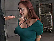 Horny Bounded Lady With Big Hooters Knows How To Blow Dicks Well