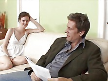Young Slender Brunette Babe On Couch Sucking And Fucking Stepdad