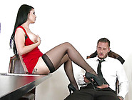 Horny Katrina Jade Seduces Subordinate And Forces Him To Lick He