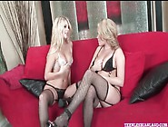 Hot Blondes In Fishnets Finger Cunt Lustily
