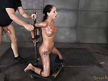Raven Haired Sweetie With Fake Tits Got Bound On Movable Sybian