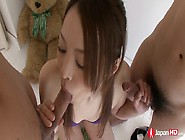 Young Japanese Chick Hitomi Usami Is Sucking Two Small Dicks