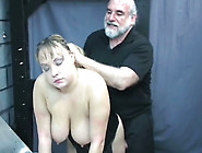 Busty Slut In Corset Sucking Old Perve's Hard Cock Balls Deep
