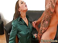 Provocative Brunette Went To Visit Her Tattooed Guy And Got Fuck