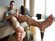 Big Feet,  Huge Cock And Wanking On A Sneaker