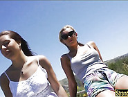 Two Amateur Teen Babes Ally And Angie Threesome In Public