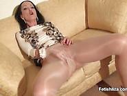 Liza In Tan Pantyhose Masturbate