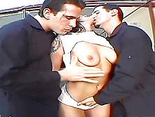 Couple Of Men Ravish A Cute Brunette's Brilliant Body