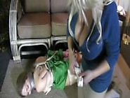 The Babysitter Gets Another Womans Panties Tied On To Her Pretty