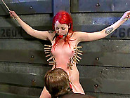A Thin Rope Is Rubbing Redhead's Delicious Muff