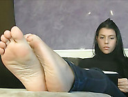 Jeans-Clad Italian Teen Showing Off Her Red-Nailed Feet