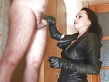 Handjob In Leather Outfit
