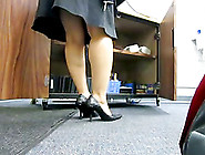 Foot Fetish Clip With A Mature Woman Walking To And Fro In An Of