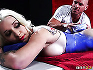 Brutal Man Presents Steamy Massage To Buxom Oiled Blondie