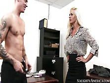 Beautiful Blond Secretary With Big Tits Is Given To The Son Of H