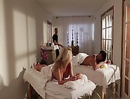 Two Girls Share A Large Dick On The Massage Table In A Threesome