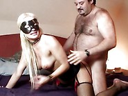 Masked Blonde Fucks Plump Guy