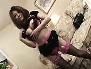 Asian Cutie In Stockings Flashes Her Big Boobs And Enjoys A